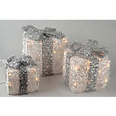 Set Of 3 Led Gift Boxes - White with Silver Bow