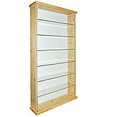 Exhibit - Solid Wood 6 Shelf Glass Wall Display Cabinet - Pine