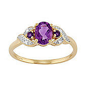 Gemondo Gold Plated Sterling Silver 0.69ct Natural Amethyst & Diamond Three Stone Ring