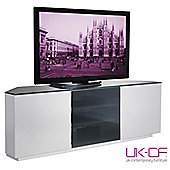 UK-CF White Corner TV Stand with Black Glass for up to 60 inch