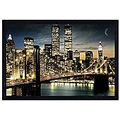 Manhattan, New York City Black Wooden Framed Twinkling Lights Poster