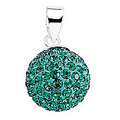 Jewelco London Rhodium-Coated Sterling Silver Green Crystal Shamballa Pendant