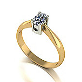 18ct Gold 6x4 Oval Moissanite Single Stone Ring.