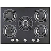 iQ 70cm 5 Burner Gas on Glass Hob - Mirrored Black Glass