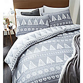 Catherine Lansfield Nordic Trees Christmas Duvet Cover Set - Grey