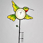 Garden Glows Yellow Glass Hummingbird Rain Gauge & Thermometer Garden Stake