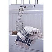 Catherine Lansfield Home Cosy Corner Swing Check Border 450gsm Bath Towel Navy