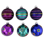 Set of Six Blue, Purple & Green Christmas Tree Baubles with Glitter Patterns