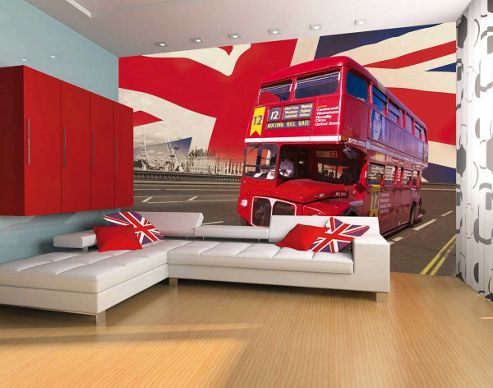 1Wall Giant London Double Decker Bus Wall Mural