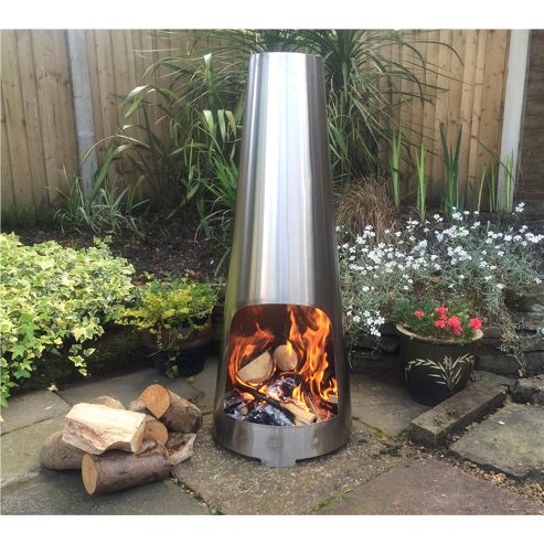 Made O'Metal Stainless Steel Cone Chimenea Outdoor Log Burner