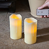 Pair of Wax Battery LED Candles With Remote Control