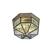 Small Flush Lighting Fixture with Bevelled Glass Panels