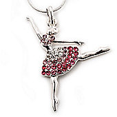 Diamante Ballerina Pendant Necklace In Rhodium Plated Metal - 44cm Length