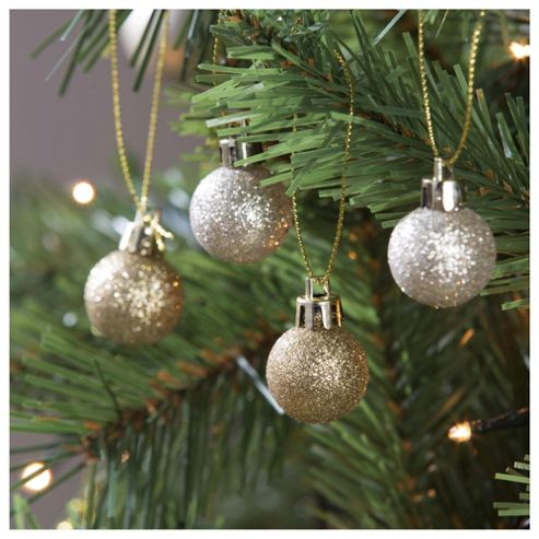 Tesco Gold & Silver Baubles, 24 Pack