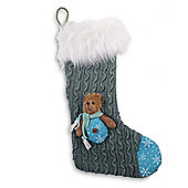 Knitted & Fabric Finish Christmas Stockings With Bears - Grey