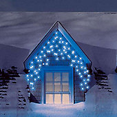 3.5m/11.5ft Set of 180 Blue Multifunction Snowing Icicle Frosted LED Lights