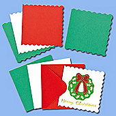 Mini Festive Colours Christmas Greeting Card Blanks for Children to Decorate (Pack of 20)