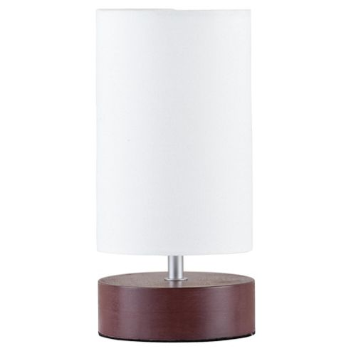 Tesco Lighting Cylinder Wooden Table Lamp Dark
