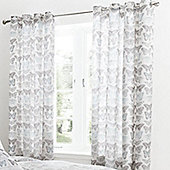 Catherine Lansfield Duck Egg Pastiche Butterflies Lined Curtains - 66x72