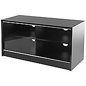 Black TV Stand with Single Sliding Glass Door