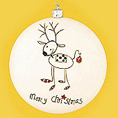 12cm Disc Bauble with Reindeer
