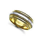 Jewelco London Bespoke Hand-Made 18 carat Yellow & White Gold 8mm Mill Grain Wedding / Commitment Ring,