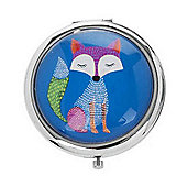 Funky Fox Blue Compact Mirror