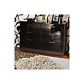 Welcome Furniture Mayfair 6 Drawer Midi Chest - Light Oak - Aubergine - Black