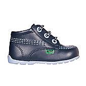 Kickers Kick Hi Patent Baby Toddler School Shoe Boot Blue - Blue
