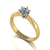 9ct Gold 6 Claw Solitaire ring set with a 5.0mm Round Brilliant Cut Moissanite equivelent 0.50ct