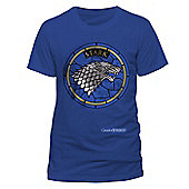 Game Of Thrones - Stark Window T-shirt Blue Medium - Film and TV T-Shirts