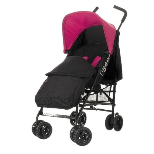 Obaby Atlas Black & Grey Stroller with Black Footmuff/Pink Hood