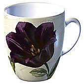 Tesco Single Porcelain Classic Flower Mug, Black