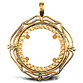 Jewelco London 9ct Solid Gold casted half-size Sovereign coin pendant mount with a wavy design border