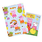 Peppa Pig Wrapping Paper' Birthday Card and Gift Tags Pack