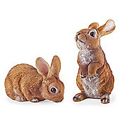Cleo & Clyde the Pair of Realistic Resin Rabbit Garden Ornaments