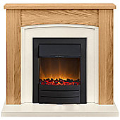 Adam Chilton Oak & Ivory Electric Fireplace Suite