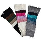 Circa Striped Fingerless Long Gloves - Black
