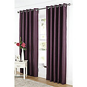 Dreams and Drapes Java Lined Eyelet Faux Silk Curtains 90x72 inches (228x183cm) - Aubergine
