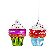 Set of Two Brightly Coloured Glass Cupcake Christmas Bauble Decorations