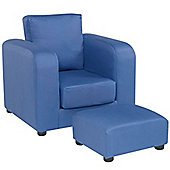 Children's Chair with Footstool - Blue