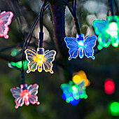30 Multi Coloured LED Butterfly Solar Garden Fairy Lights