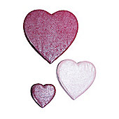 Set of 3 Pink Glitter Wall Mounted Decorations