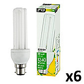 Pack of 6 20W Energy Saving Stick BC B22 Bulbs in Warm White