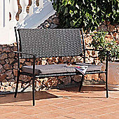 Suntime Amalfi Black Rattan Garden Bench with Cushion
