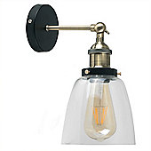 Ambrose Industrial Style LED Wall Light in Satin Black & Antique Brass with Glass Shade