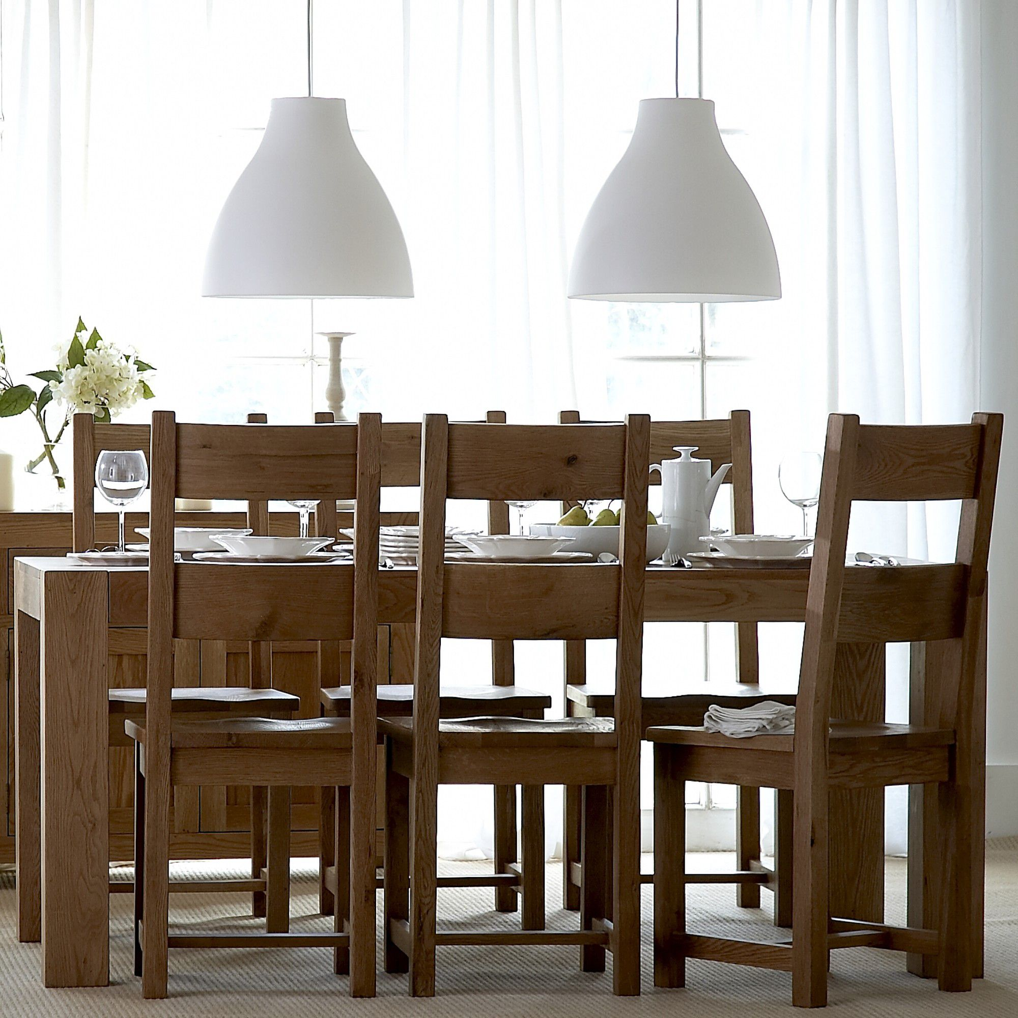 Thorndon Block 7 Piece Dining Set in Natural Matured Solid Oak at Tesco Direct