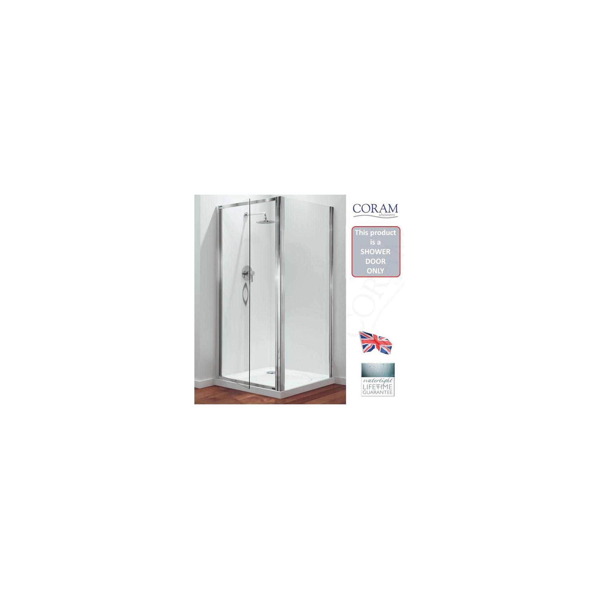 Coram Premier Swing Shower Door, 800mm Wide, Polished Silver Frame, 6mm Plain Glass at Tescos Direct