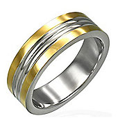 Urban Male Modern Men's Two Colour Stainless Steel Polished Ring 6mm