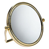 Famego 7x Magnification 15cm Folding Travel Mirror in Gold